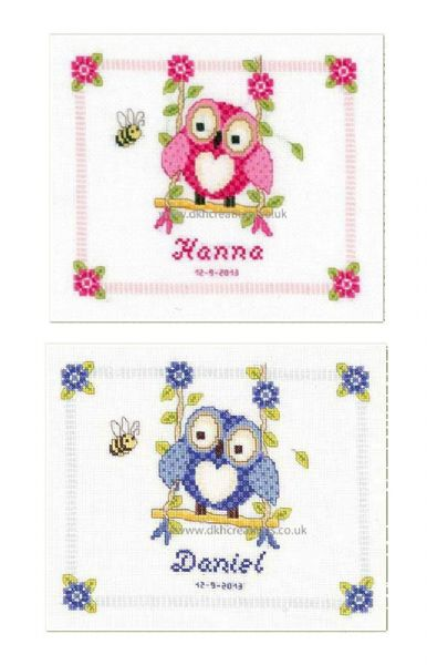 Owlet On A Swing Birth Sampler Cross Stitch Kit